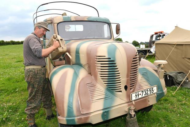 Dave Hooton gets ready for the Yorkshire Wartime Experience at Hunsworth with his rare Phanoman 15 German SS wagon, the only one in Britain.
