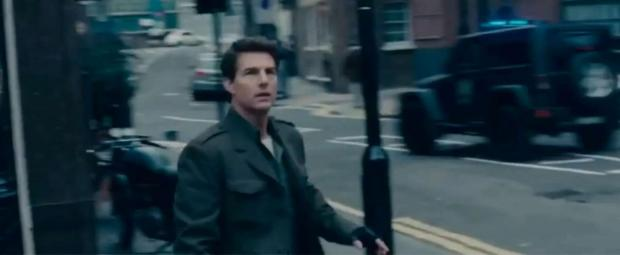 Bradford Telegraph and Argus: Tom Cruise with the Kahn jeep in a scene from Edge of Tomorrow.