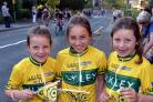Ilkley cycle races: Cycling family l to r Francesca, 7, Isabel, 9 and Charlie Maona from Ben Rhydding