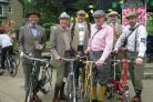 (7831971)Ilkley Parish Council chairman, Councillor Andrew Walbank (second from left) joined riders from Ilkley Cycling Club and the Clarke Foley Centre for the first Ilkley Traditional Country Ride
