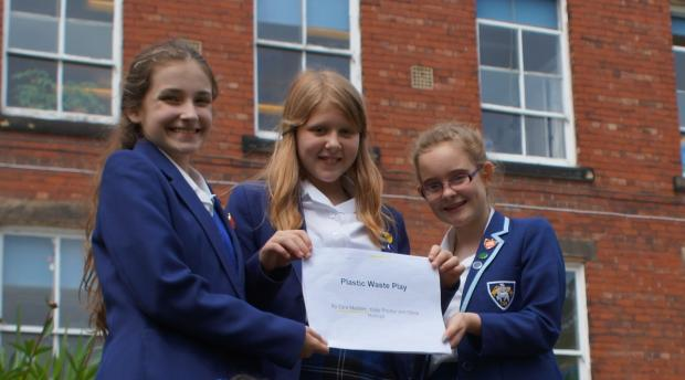 Bradford Telegraph and Argus: PRIZE-winning pupils pictured from left, Olivia Holroyd, Zara Madden
