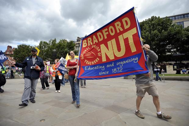 Bradford Telegraph and Argus: ACTION: Teachers demonstrate during a previous strike