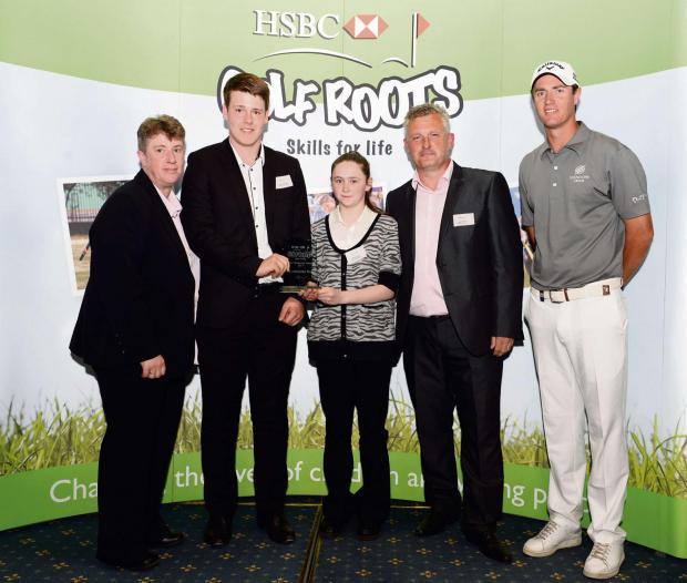 AWARD: Andy Watmuff (second right) with students Jordan Clements and Bethany Craig, and Michelle Clarke, of the Prince's Trust (far left) and Ryder Cup player Nicolas Colsaerts