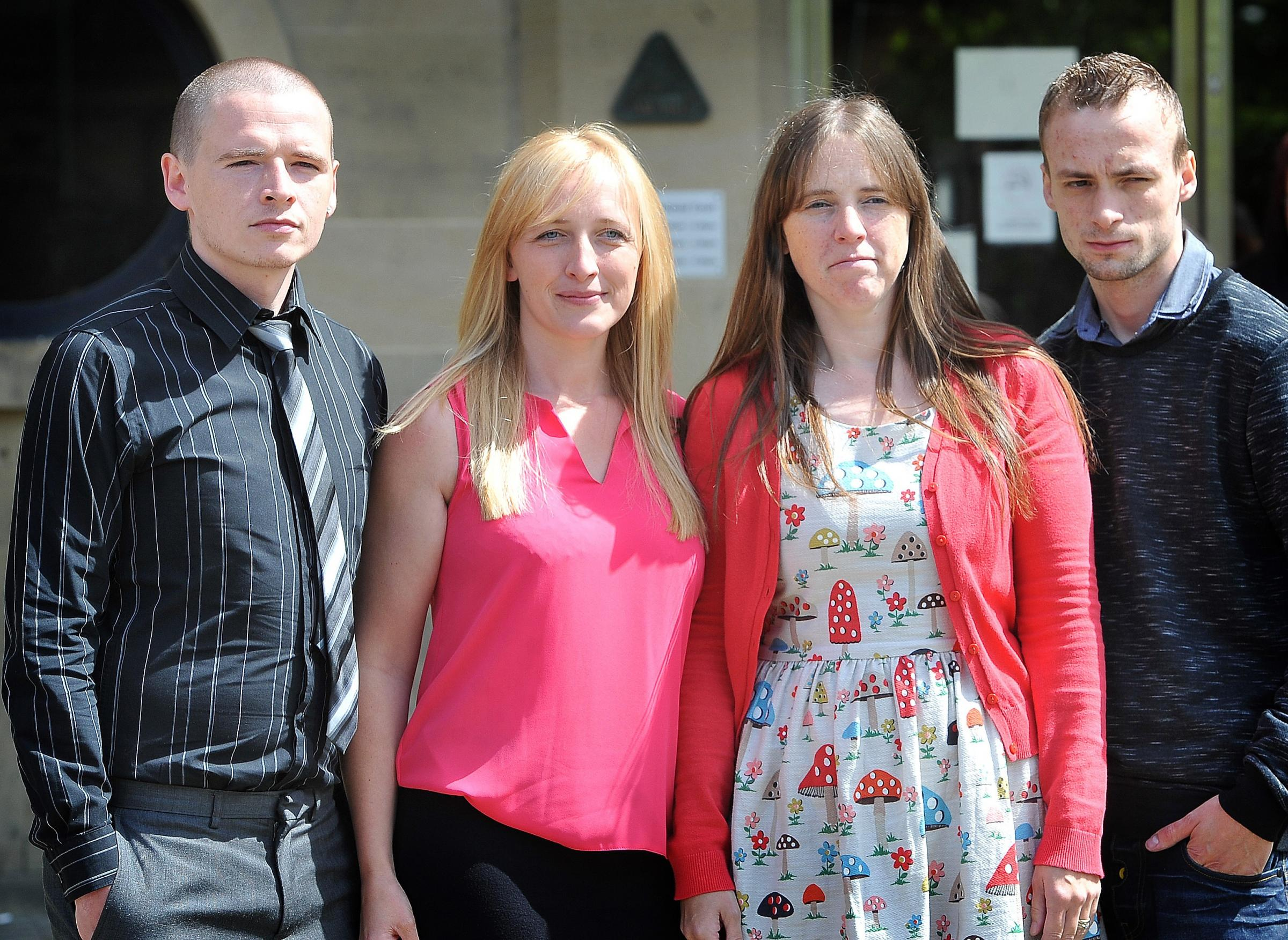 DEMAND: Mary Byrne's family (from left) son Ben Byrne, daughters Sarah Harrison and Sam Rees, and son David Barrett outside Bradford Crown Court after the two drivers who killed her were jailed.