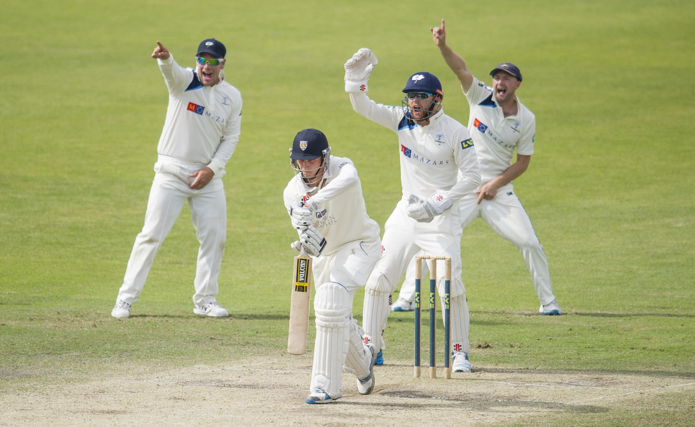 Yorkshire appeal for the wicket of Durham tailender Paul Coughlin