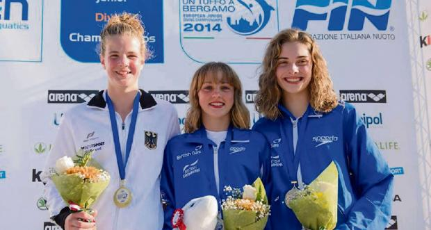 Bronze-medal winner Ruby Bower, right, in Bergamo with German silver medallist Elena Wasson, left, and Bower's City of Leeds clubmate Lois Toulson