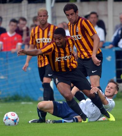 City trialist Angelo Balanta  evades a tackle in the 3-0 win over Guiseley