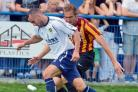James Hanson in action during the pre-season match against Guiseley