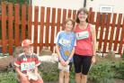 Pictured after finishing the Tour de  Riddlesden fun run are, from left, Joshua, Zac and Elspeth Cansdale.