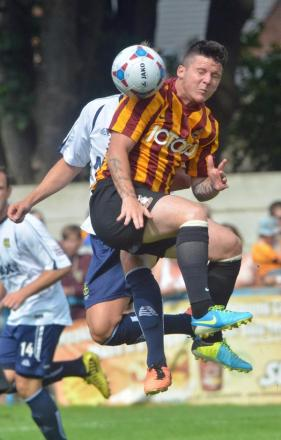 City new boy Billy Knott in pre-season action against Guiseley