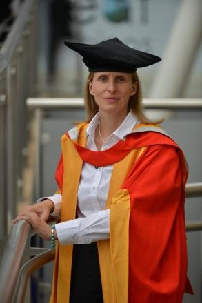 BBC Kosovo reporter Orla Guerin after receiving her honary degree from Bradford University.