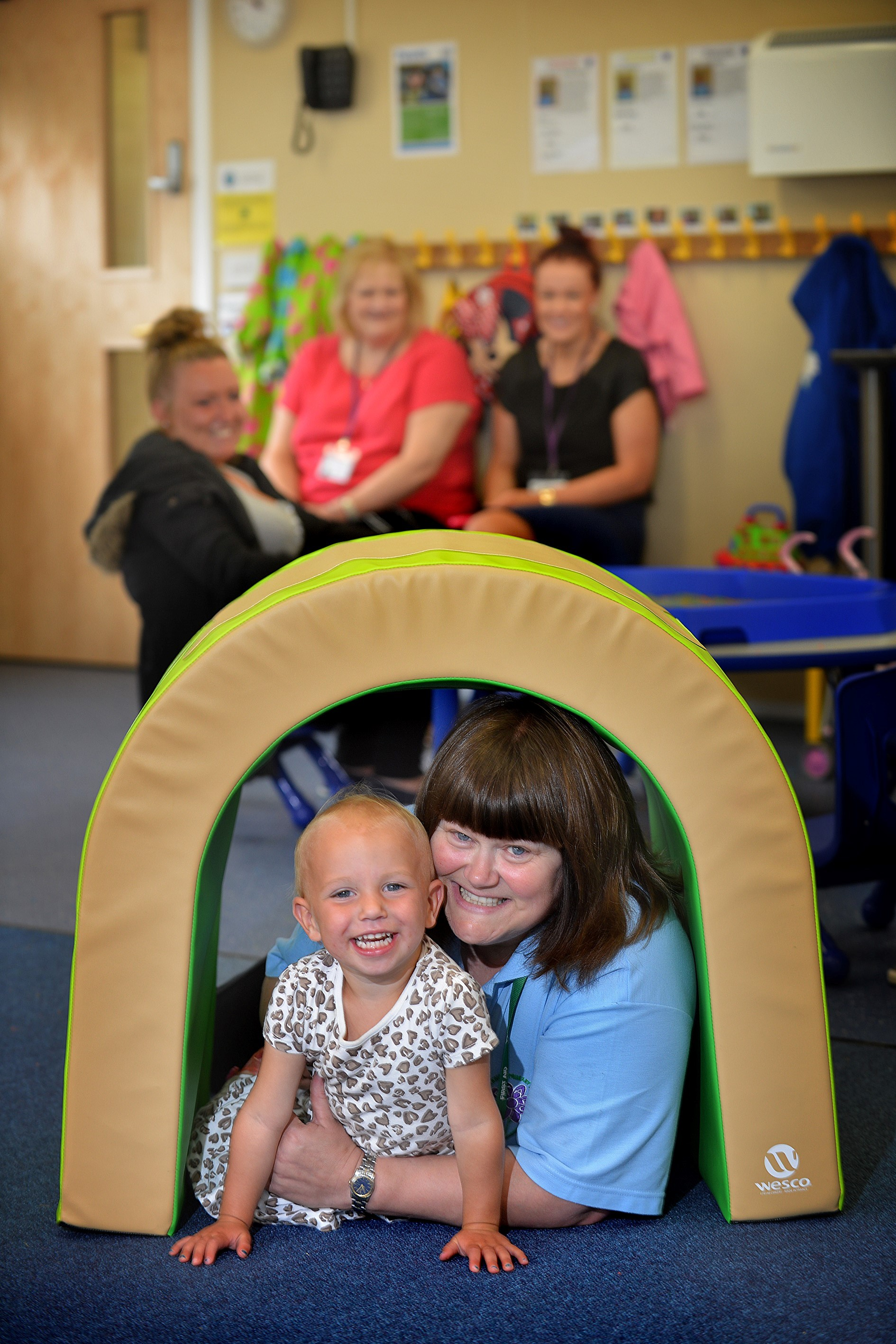 The new Carwood Primary School 2 year old facility. Manager Sylvia Ralph with young Daisy Hodgson (2).