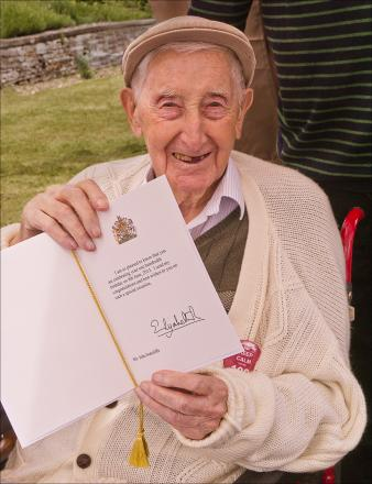 Stanley Sutcliffe pictured on his 100th birthday