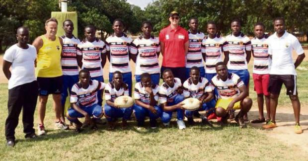 Ghanaian youngsters from Presec Legon, who were representing their schools in a first-ever game of rugby league wearing official Bulls merchandise donated by the club
