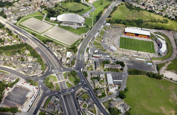 An overhead view of Odsal Top roundabout from 2006