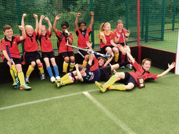 Bradford Hockey Club Under-11s, who have won the County Championship after progressing from Division Four straight through to Division One From left: Jacob Murby, Eve Craig, Kim Popple, Ibrahim Naseem, Ghananshu Zalke, Jessica Ferguson, Gabrielle Doyle. F