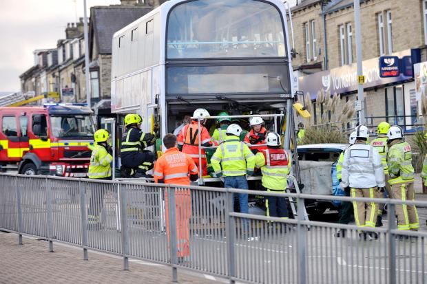 One of the most high-profile collisions in Bradford this year involved a bus and several cars on Manchester Road