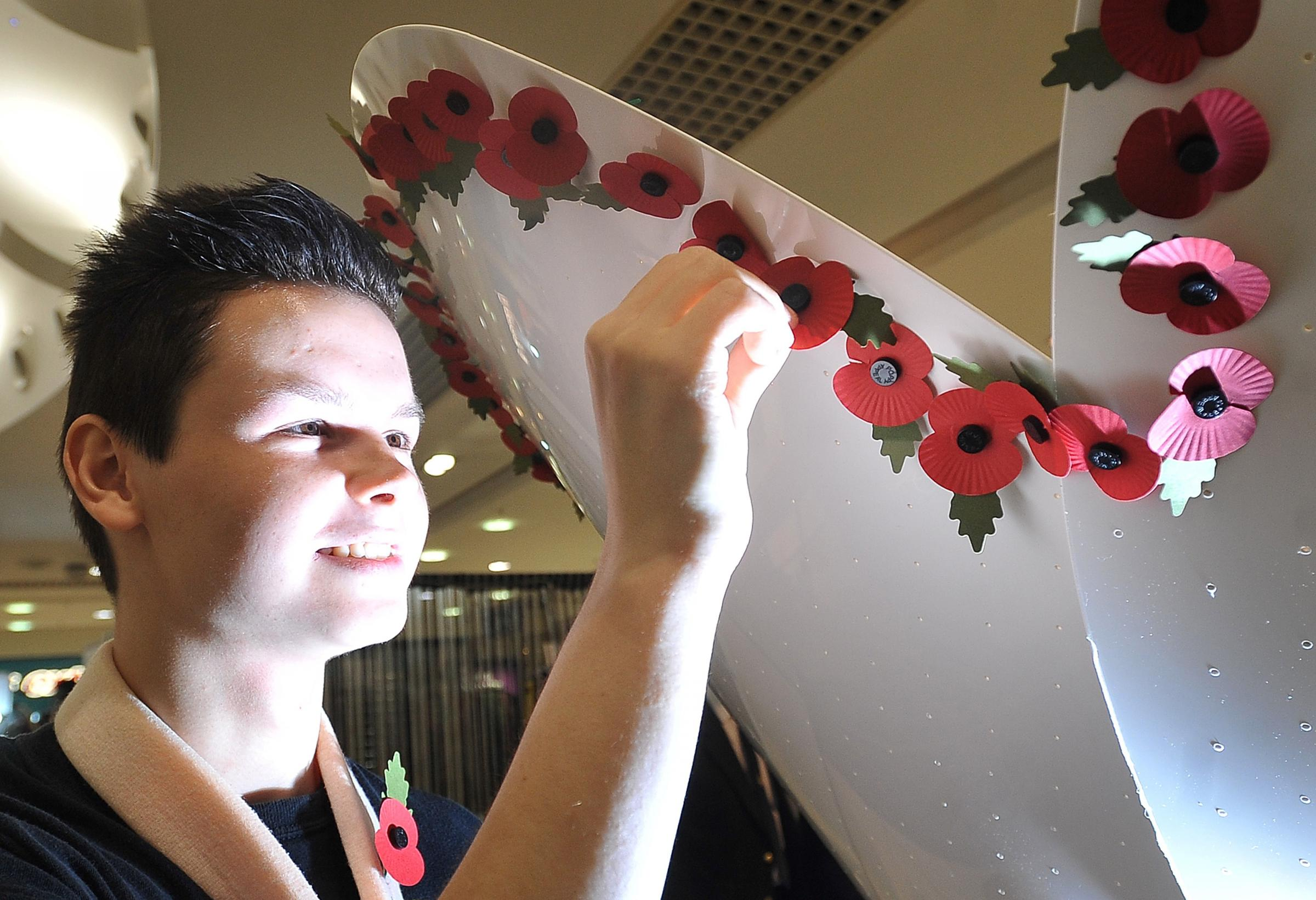 VIDEO: Interactive 'Centenary Poppy Sculpture' unveiled at the Kirkgate shopping centre in Bradford