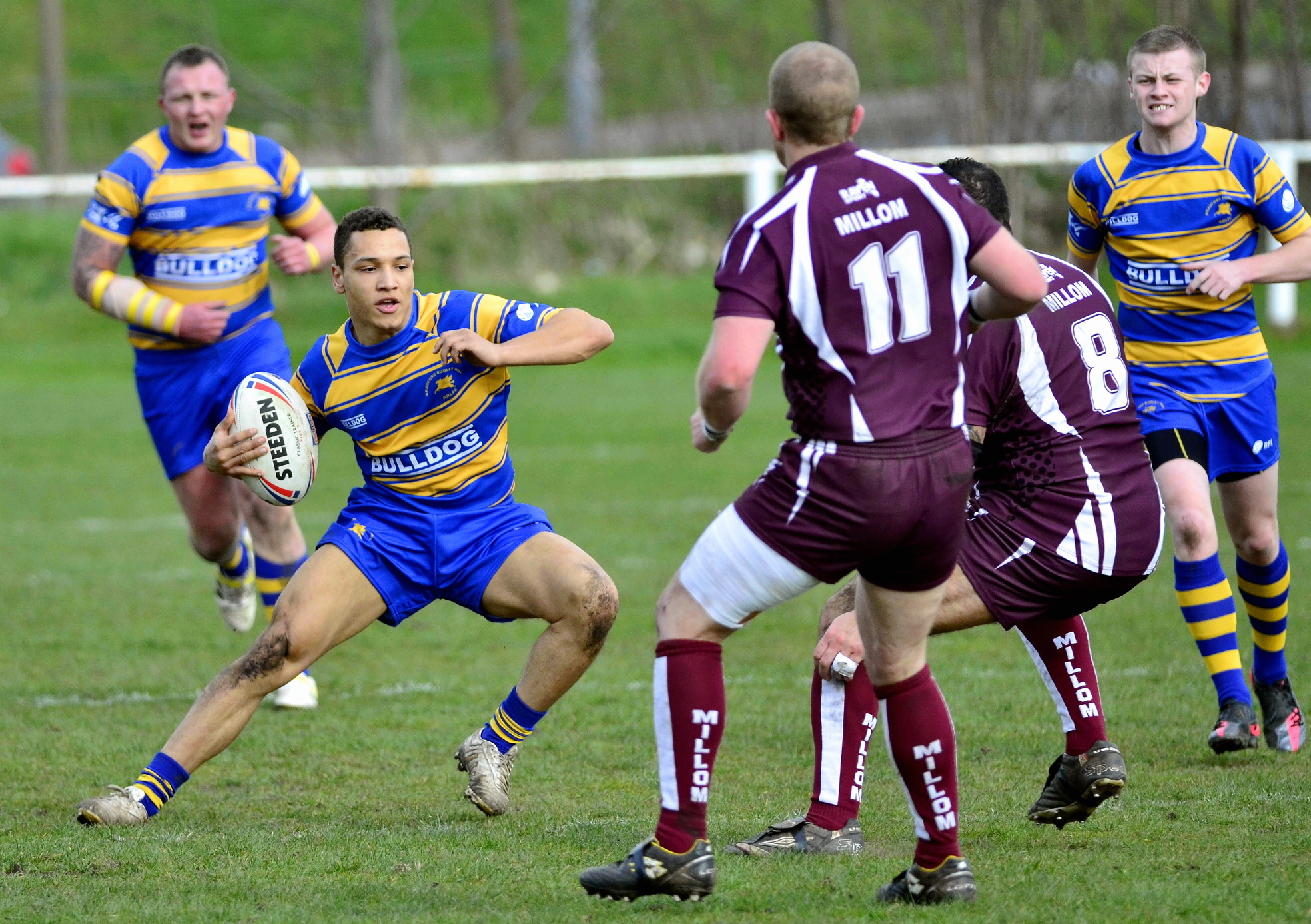 Bradford Dudley Hill's Aiden Batey in action against Millom. Bradford Dudley Hill V Millom. ts.