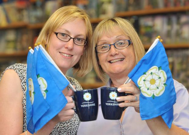 Manager, Rachel Oxborough and Assistant, Pat Bentley, at Bradford Tourist Information Centre ahead of the Yorkshire Day celebrations