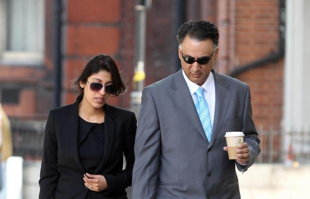 Aisha Ali-Khan with her husband, Afiz Khan, leaving a previous court hearing.