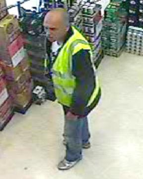 The man who police want to speak to in connection with the theft of alcohol from a shop in Bradford