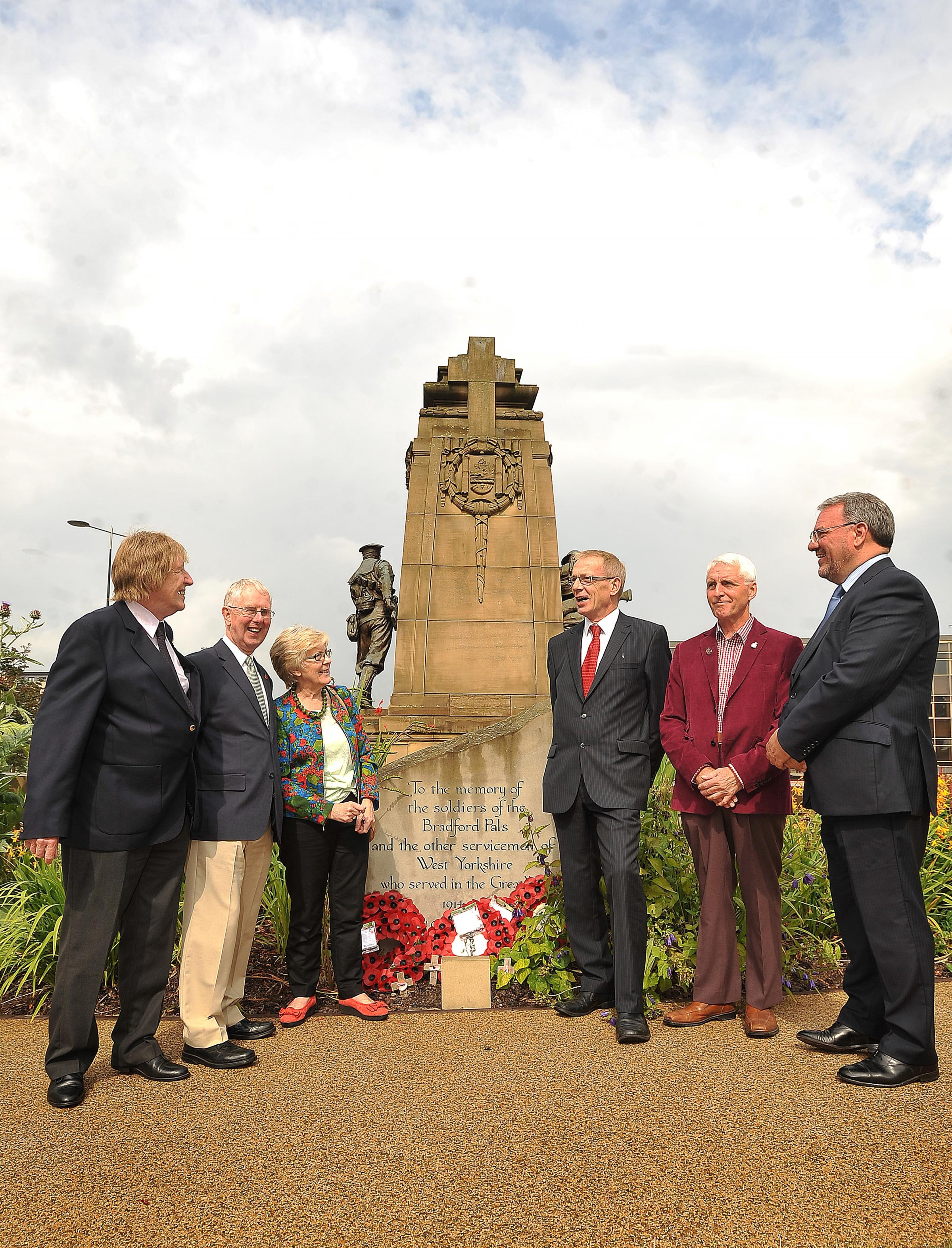 APPEAL: At the announcement of the appeal last month were, (from left), Bradford WW1 Group members, Gerald Beevers, Geoff Barker, Tricia Platts, Bradford Council leader David Green, Councillor John Ruding and Telegraph & Argus Editor, Perry Austin- Cl