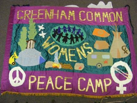 The Greenham Common Women's Peace Group banner
