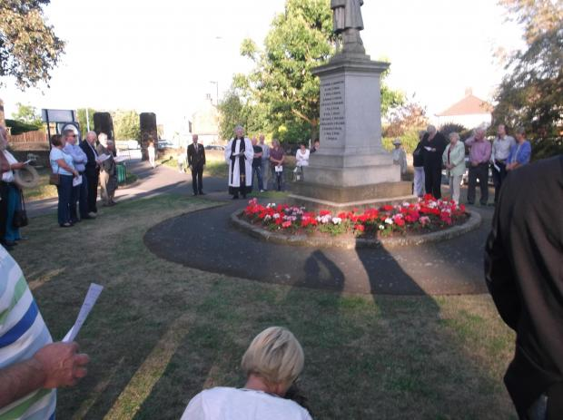 A crowd of 60 people gathered at the Cenotaph in Victoria Park on last night to mark 100 years since the start of the First World War.