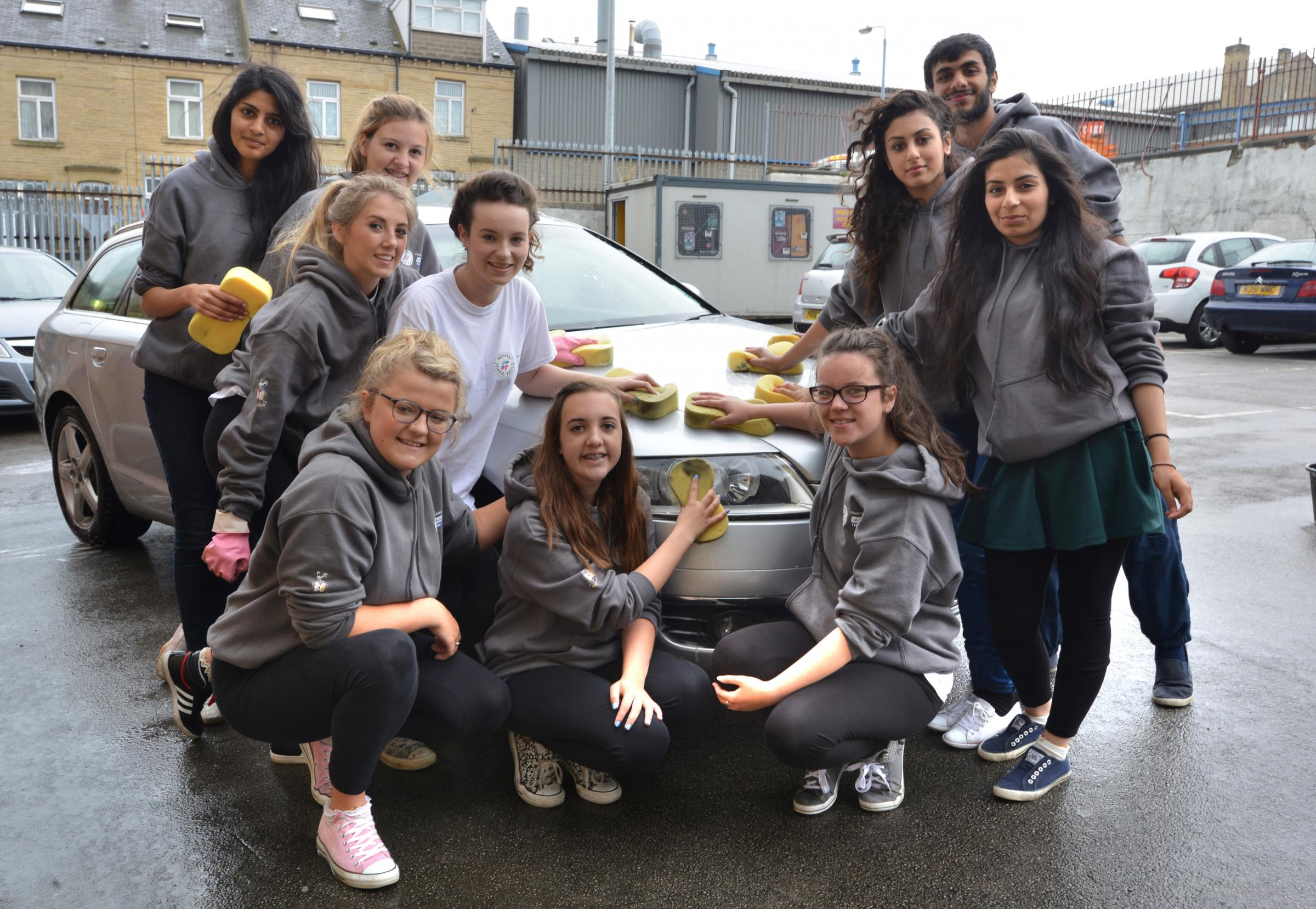 Bradford youngsters clean up for foodbank charity with Valley Parade car wash