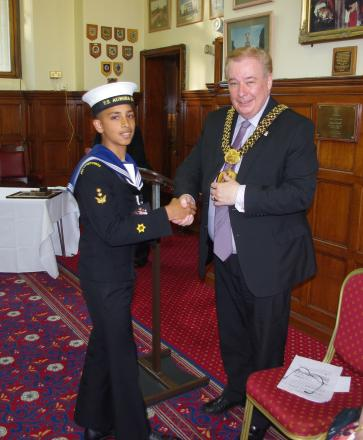 HONOUR:  POC Abbas Younis accepts his badge of office from the Lord Mayor of Bradford Councillor Mike Gibbons