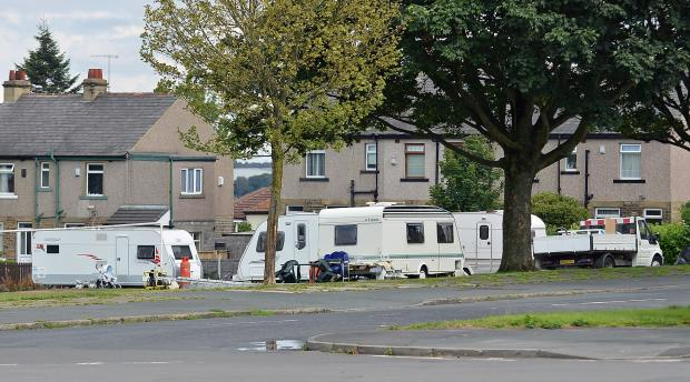 Travellers on Carrbottom Recreation Ground yesterday