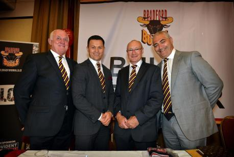 BRADFORD Bulls' hierarchy (from left to right): commercial director Danny Potticary, chief executive Robbie Hunter-Paul, managing director Steve Ferres, chairman Marc Green.