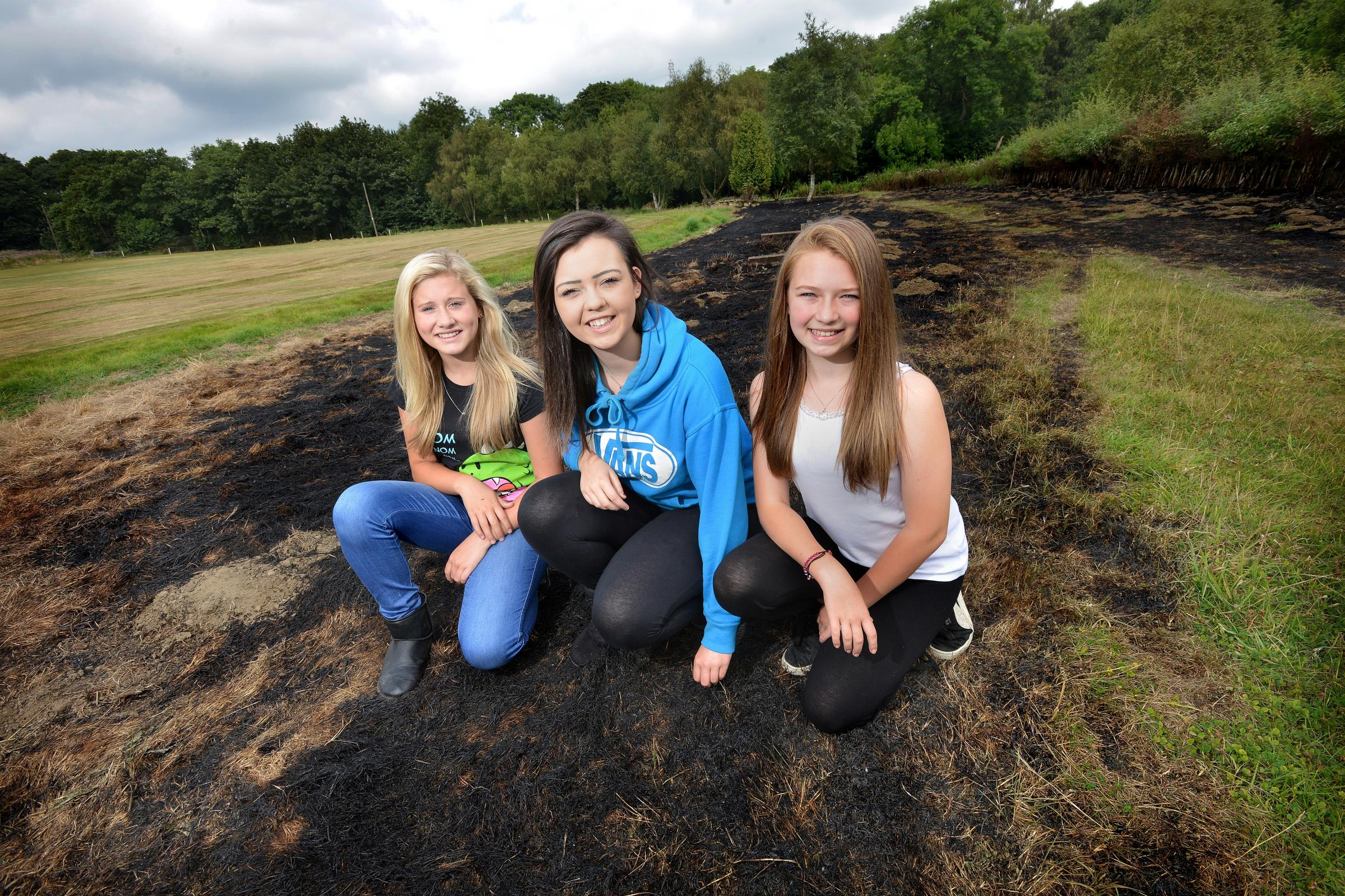 VIDEO: Trio of girls praised by firefighters for their bravery in fighting a Bradford park grass fire