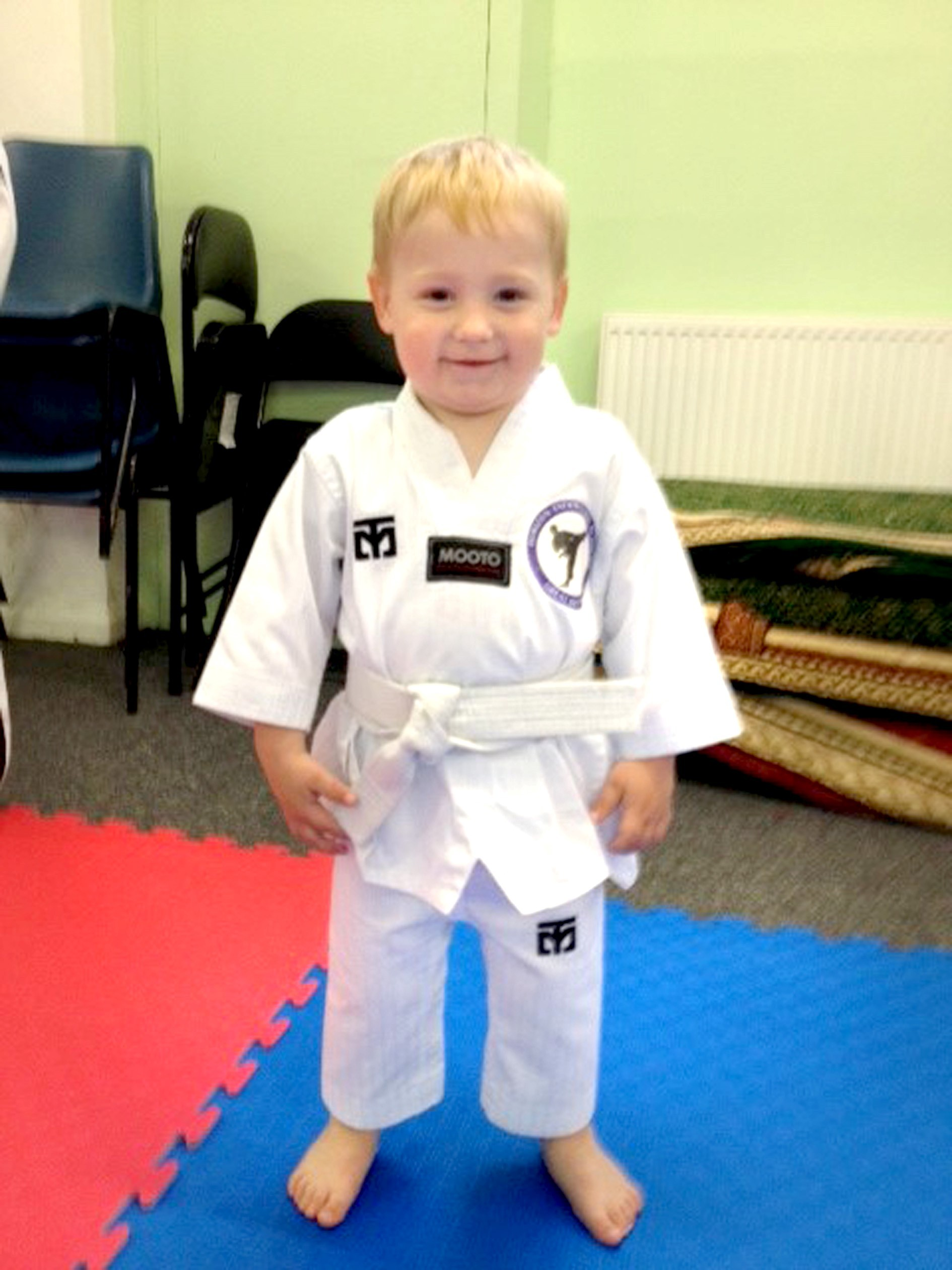 Taekwondo toddler Jayden, two, becomes country's youngest belt holder