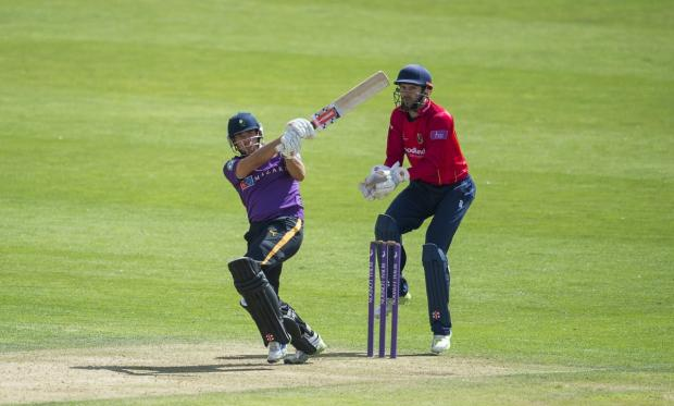 Jack Leaning hits out on his way to 111 not out against Essex on Monday