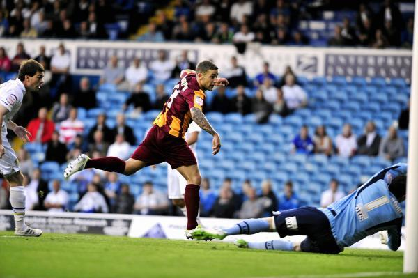 QUICK REMINDER: Jack Compton nets against Leeds in the Bantams' 3-2 defeat at the hands of their West Yorkshire rivals in the first round of the League Cup in 2011