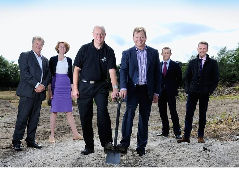 CONSTRUCTION: Marking the start of construction at Baildon Business Park, are (from left to right),  Richard Heslop, of Dale Eddison, Cllr Susan Hinchcliffe, Andrew Curtin, of Anectic Aid, Jeremy Ridyard, of Produmax, and Andrew Russell and Mark Taylforth