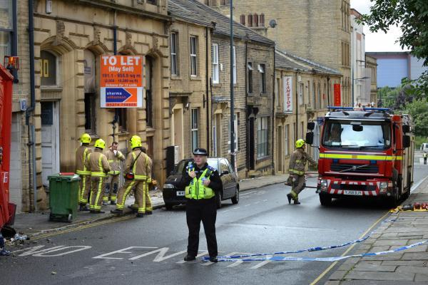 Firefighters at the scene of the fire - the former base of Sunrise Radio in Chapel Street, Little Germany