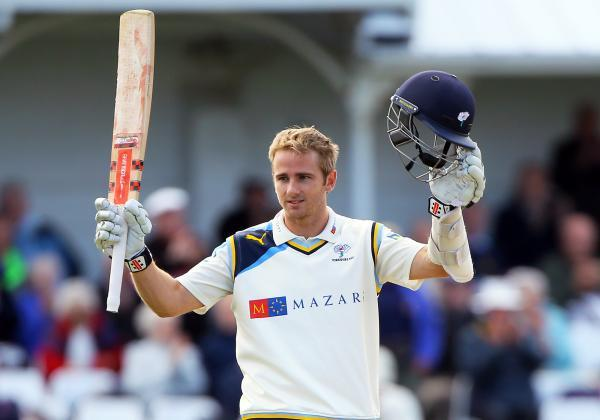 Kane Williamson celebrates his century at Scarborough