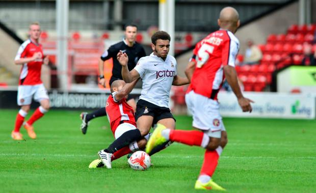 Mason Bennett battles with the Walsall defence on his City debut