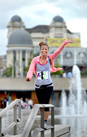 Amy Hughes, who is attempting to run 53 marathons in 53 days, seen here in Bradford city centre