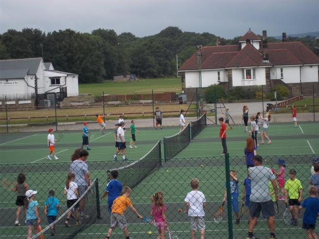 Young players taking part in Salts Tennis Club's Junior Tennis Camps.