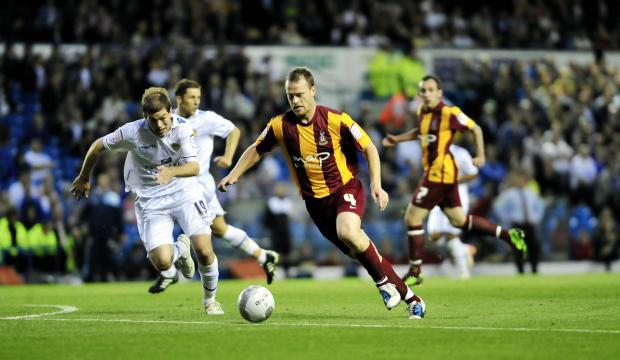 FLASHBACK: City's Michael Flynn lines up for his shot before scoring in the 2011 League Cup clash against Leeds