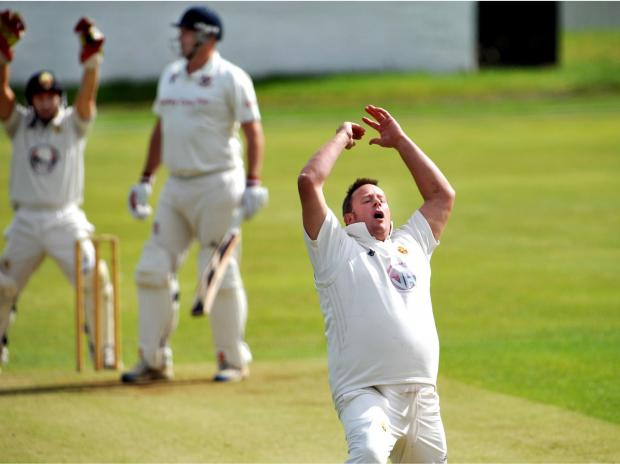 Lightcliffe bowler Chris Greenwood can hardly believe it as an appeal against Cleckheaton batsman John Wood is turned down