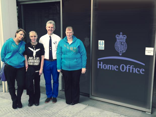 PLEA: Clive Knowles, chairman of the British Ironwork Centre, with knife crime victims' relatives Lisa Minott, mother of Fusilier David Lee Collins, and Lisa McNeil, mother of Danny Jones, and her friend Michelle McHale