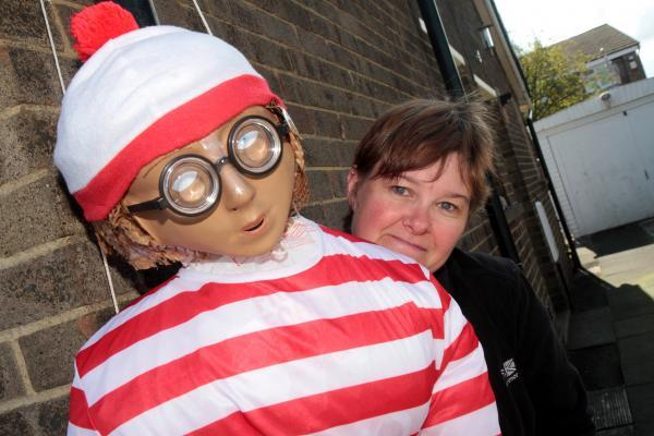 Michelle Wilson with her Where's Wally scarecrow