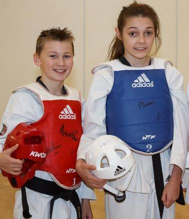 Horizon Taekwondo Academy pupils Jamie Simpson-Kidd and Ellie Bowden, who have retained their Great Britain squad places – Picture: Karl Mann