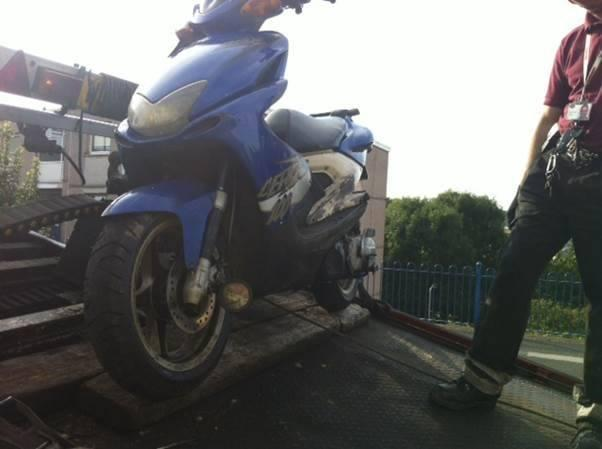 The scooter being seized