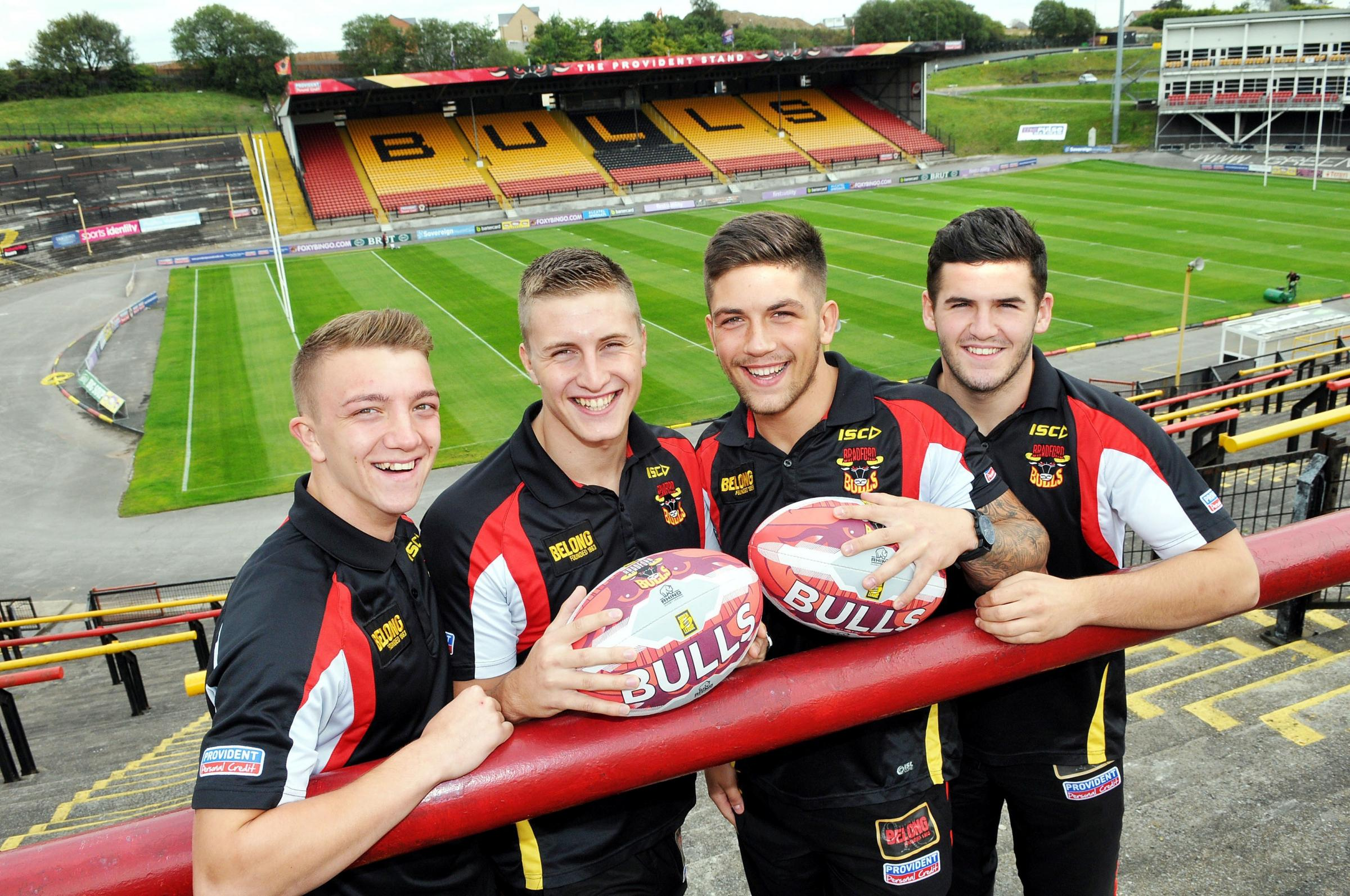 BACK ON BOARD: Bulls youngsters Adam Brook, Alex Mellor, Sam Bates and Nathan Conroy are all smiles